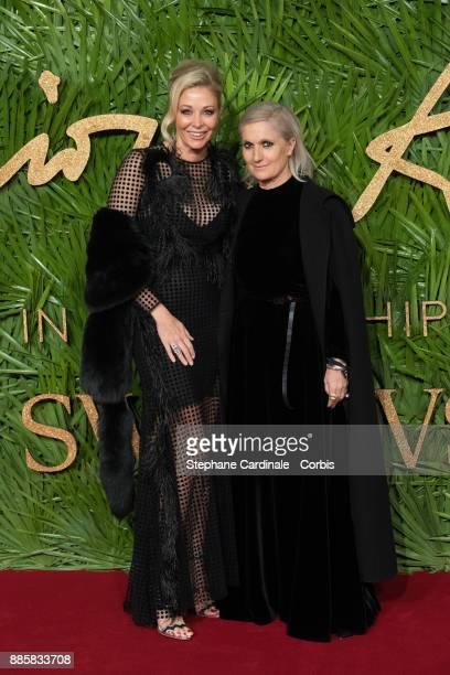 Nadja Swarovski and Maria Grazia Chiuri attends the Fashion Awards 2017 In Partnership With Swarovski at Royal Albert Hall on December 4 2017 in...