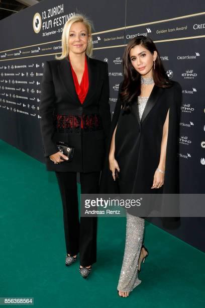 Nadja Swarovski and Praya Lundberg attend the 'The Wife' premiere at the 13th Zurich Film Festival on October 1 2017 in Zurich Switzerland The Zurich...