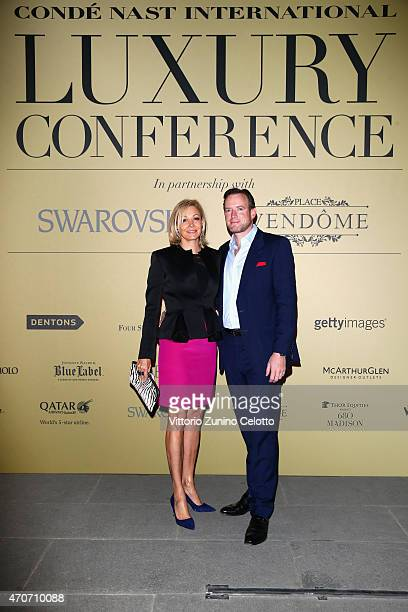 Nadja Swarovski and Rupert Adams attend the Conde' Nast International and Place Vendome Qatar Party at Palazzo Corsini on April 22 2015 in Florence...