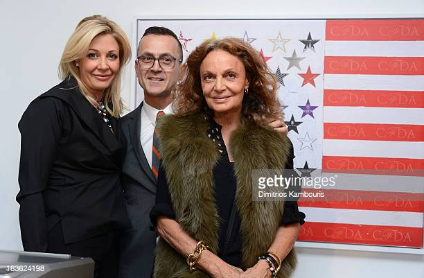 Nadja Swarovski CEO of CFDA Steven Kolb and Diane von Furstenberg attend the CFDA 2013 Awards Nomination event on March 13 2013 in New York City