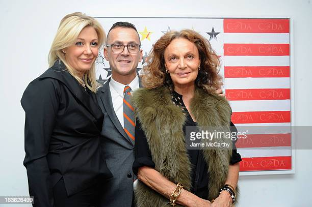 Nadja Swarovski CEO of CFDA Steven Kolb and Diane von Furstenberg attend the CFDA 2013 Awards Nomination event on March 13 2013 in New York City