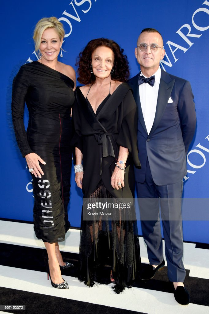 Nadja Swarovski, Diane von Furstenberg, and Steven Kolb attend the 2018 CFDA Fashion Awards at Brooklyn Museum on June 4, 2018 in New York City.