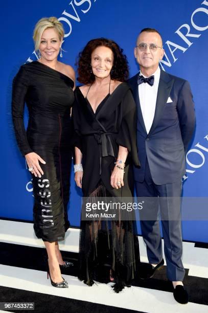 Nadja Swarovski Diane von Furstenberg and Steven Kolb attend the 2018 CFDA Fashion Awards at Brooklyn Museum on June 4 2018 in New York City