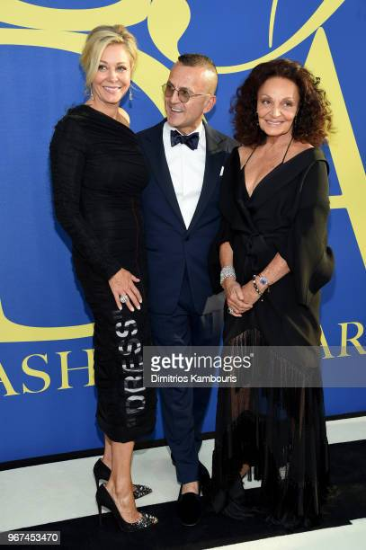 Nadja Swarovski Diane von Furstenberg and Steven Kolb attend the 2018 CFDA Fashion Awards at Brooklyn Museum on June 4 2018 in New York City