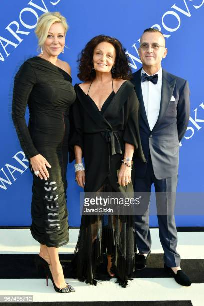 Nadja Swarovski Diane von Furstenburg and Steven Kolb attends the 2018 CFDA Fashion Awards at Brooklyn Museum on June 4 2018 in New York City