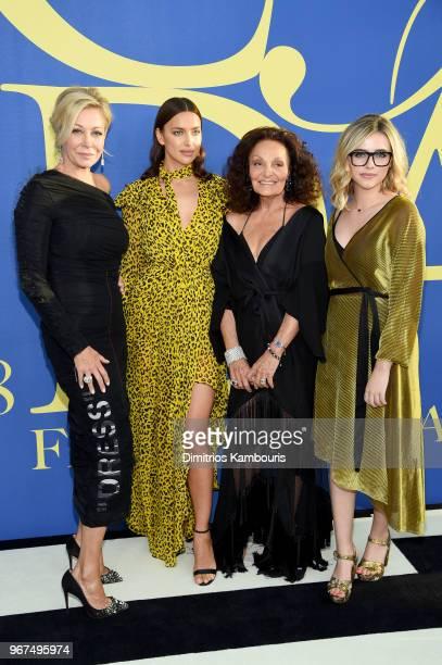 Nadja Swarovski Irina Shayk Diane von Furstenberg and Delaney Tarr attend the 2018 CFDA Fashion Awards at Brooklyn Museum on June 4 2018 in New York...