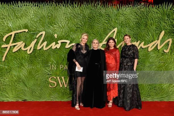 Nadja Swarovski Maria Grazia Chiuri Natalie Massenet and Caroline Rush attend The Fashion Awards 2017 in partnership with Swarovski at Royal Albert...