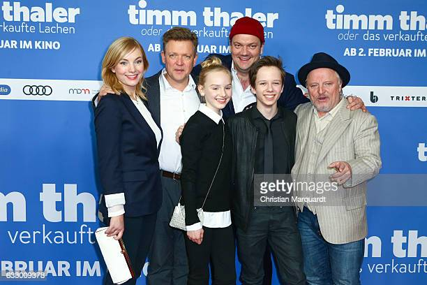 Nadja Uhl Justus von Dohnany Jule HermannCharly Huebner Arved Friese and Axel Prahl the main cast of the movie attend the premiere of 'Timm Thaler...