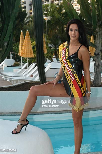 Nadja Willer Hotel Dunas La Canaria Maspalomas Insel Gran Canaria Kanarische Insel Spanien Europa Pool Badeanzug Schärpe Model Schönheitskönigin...