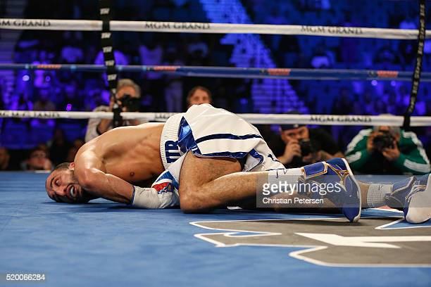 Nadjib Mohammed lies on the mat after being knocked out by Oleksandr Gvozdyk during their light heavyweight fight on April 9 2016 at MGM Grand Garden...