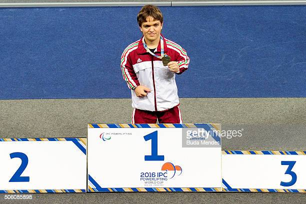 Nador Tunkel of Hungary celebrates first place during the Men's 4954 kg on the 2016 IPC Powerlifting World Cups Aquece Rio Test Event for the Rio...