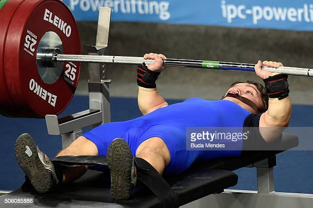 Nador Tunkel of Hungary competes during the Men's 4954 kg on the 2016 IPC Powerlifting World Cups Aquece Rio Test Event for the Rio 2016 Paralympics...