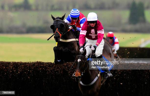 Nadover and Noel Fehily jump the second last fence before winning The coralcouk Handicap Chase at Chepstow Racecourse on December 27 2007 in Chepstow...
