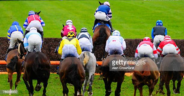 Nadover and Noel Fehily take the last fence on the first circuit before winning The coralcouk Handicap Chase at Chepstow Racecourse on December 27...
