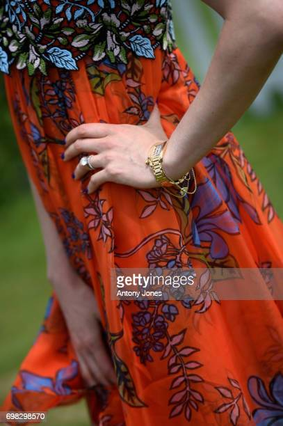 Nadya Abela watch detail attends the Cartier Queen's Cup Polo at Guards Polo Club on June 18 2017 in Egham England 2