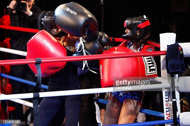 Nadya Octomom Suleman fight Amy Fisher during Celebrity Fight Night At The Avalon on November 5 2011 in Hollywood California