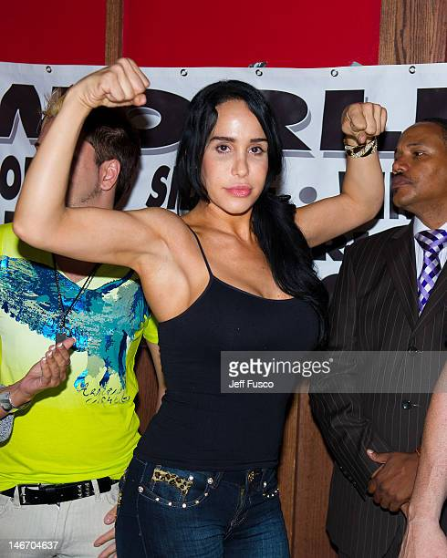 Nadya 'Octomom' Suleman poses at the Celebrity Pillow Fight Press Conference and Weigh In at the Fox And Hound Pub and Grille on June 22 2012 in King...