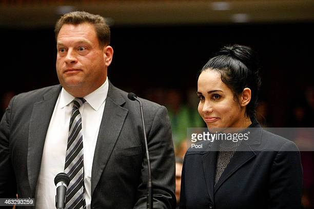Nadya Suleman also known as Octomom appears in Superior Court with her attorney Arthur J La Cilento for arraignment January 17 2014 in Los Angeles...