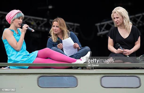 Nadya Tolokonnikova and Maria Alyokhina of Pussy Riot talk on The Park Stage with Charlotte Church during the Glastonbury Festival at Worthy Farm...