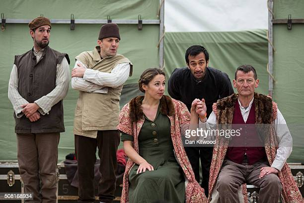 Naeem Hayat playing Hamlet from Shakespeare's Globe performs to migrants at the Good Chance Theatre Tent in the Jungle Refugee Camp on February3 2016...