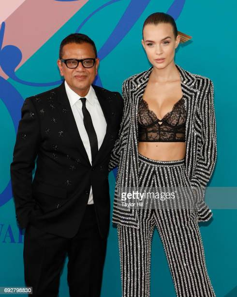 Naeem Khan and Josephine Skriver attend the 2017 CFDA Fashion Awards at Hammerstein Ballroom on June 5 2017 in New York City