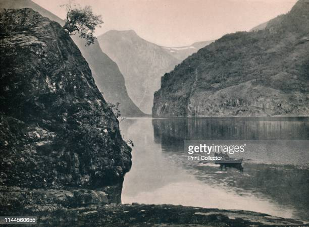 Naeroyfjord' 1914 Naeroyfjord has been listed as a UNESCO World Heritage Site since 2005 From Norge Turistruter I 65 Billeder [Mittet Co Kunstforlag...
