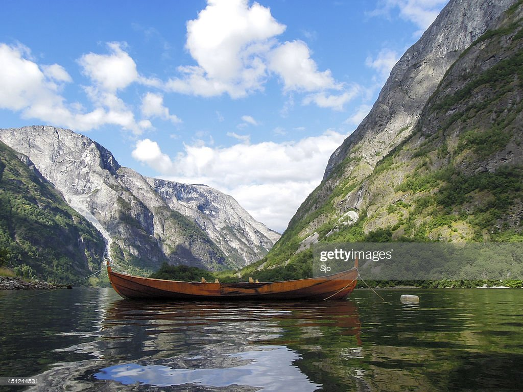 Naeroyfjord boat : Stock Photo