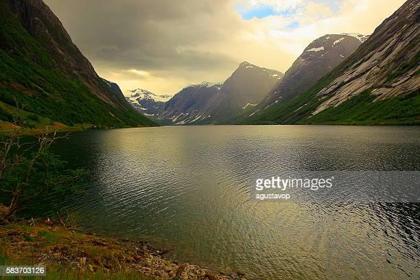 Naeroyfjord idyllic fjord landscape dramatic sunset, Norway, Nordic Countries