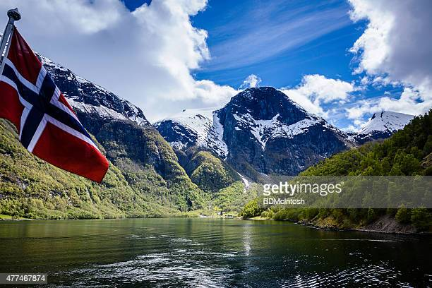 naeroyfjord, norway - norwegian flag stock pictures, royalty-free photos & images