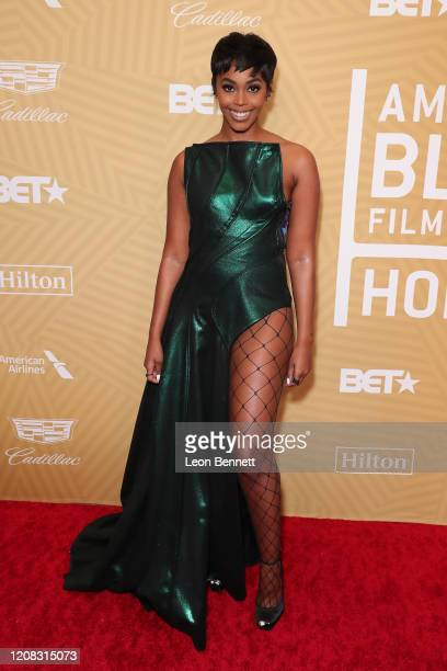 Nafessa Williams attends American Black Film Festival Honors Awards Ceremony at The Beverly Hilton Hotel on February 23, 2020 in Beverly Hills,...