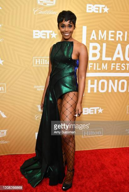 Nafessa Williams attends the American Black Film Festival Honors Awards Ceremony at The Beverly Hilton Hotel on February 23, 2020 in Beverly Hills,...