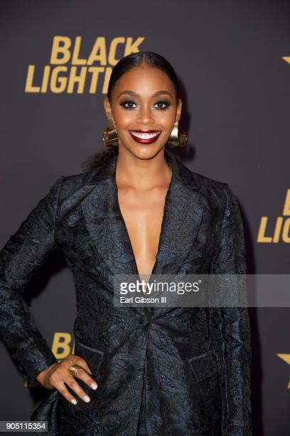 Nafessa Williams attends the 'Black Lightning' World Premiere at National Museum Of African American History Culture on January 13 2018 in Washington...