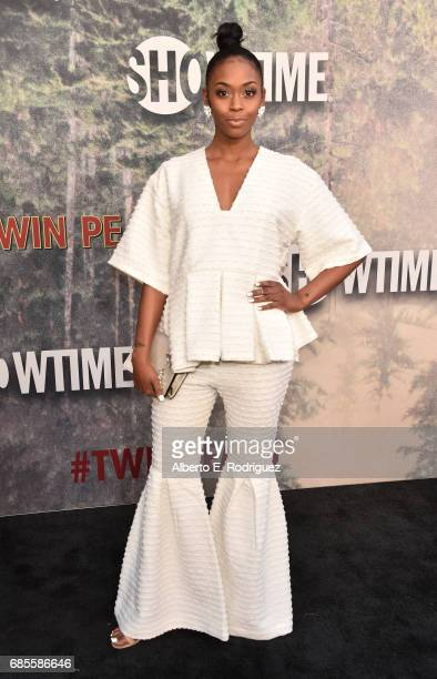 Nafessa Williams attends the premiere of Showtime's Twin Peaks at The Theatre at Ace Hotel on May 19 2017 in Los Angeles California