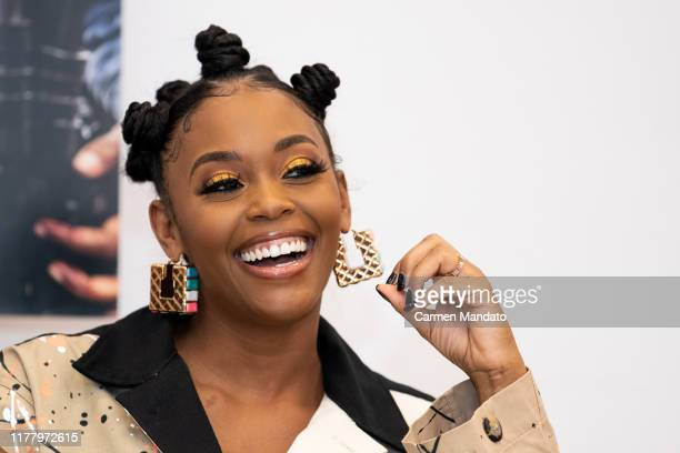 Nafessa Williams is seen during the Black Blue cast members' visit to Morehouse College on October 24 2019 in Atlanta Georgia