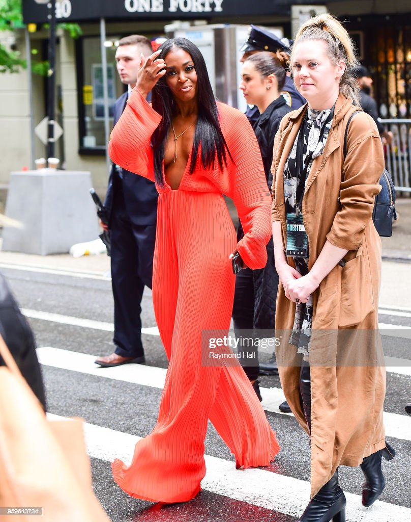 Nafessa Williams is seen walking in midtown on May 17, 2018 in New York City.