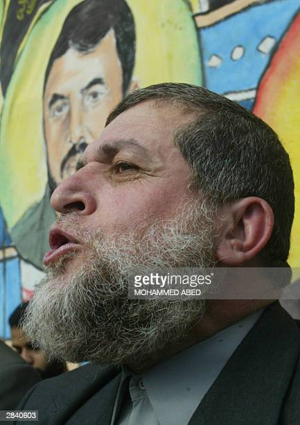 Nafez Azam an Islamic Jihad leader speaks during a rally organized by the Palestinian movement's armed wing Saraya alQuds or Jerusalem Battalions in...