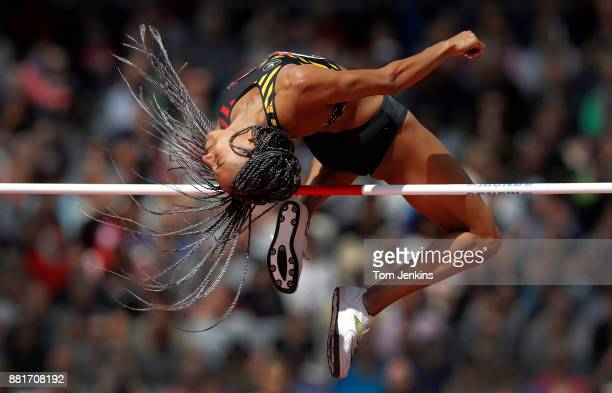 Nafi Thiam of Belgium clears the bar in the high jump before going on to win the women's heptathlon during day two of the IAAF World Athletics...