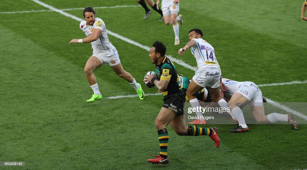 Nafi Tuitavake of Northampton breaks with the ball during the Aviva A League Final between Northampton Wanderers and Exeter Braves at Franklin's Gardens on April 30, 2018 in Northampton, England.