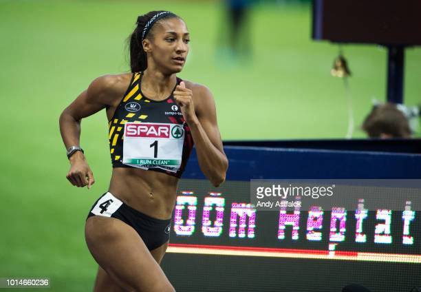 Nafissatou Thiam from Belgium in the 800m event in the Women's Heptathlon on Day 4 of the European Athletics Championships at Olympiastadion on...