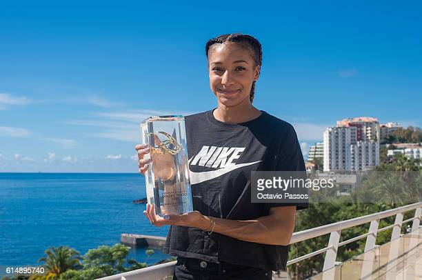 Nafissatou Thiam from Belgium poses for picture with his Golden Tracks Womenâs Rising Star 2016 trophy during the European Athletics Golden Tracks on...