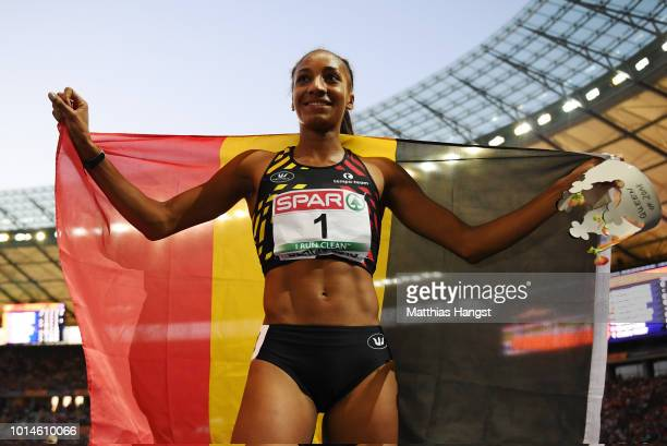 Nafissatou Thiam of Belgium celebrates after winning Gold in the Women's Heptathlon during day four of the 24th European Athletics Championships at...