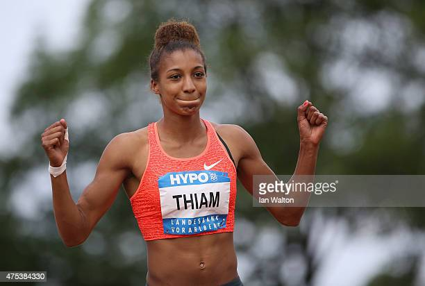 Nafissatou Thiam of Belgium celebrates in the Javelin during the women's heptathlon during the Hypomeeting Gotzis 2015 at the Mosle Stadiom on May 31...