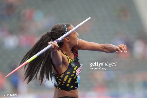 Nafissatou Thiam of Belgium competes in the javelin event of the women's pentathlon on August 10 2018 in Berlin Germany
