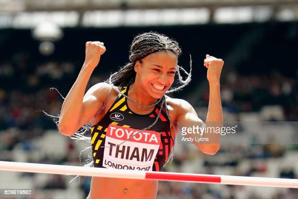 Nafissatou Thiam of Belgium competes in the Women's Heptathlon High Jump during day two of the 16th IAAF World Athletics Championships London 2017 at...