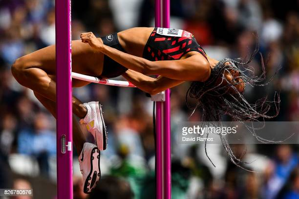 Nafissatou Thiam of Belgium competes in the Women's Heptathlon High Jump during day one of the 16th IAAF World Athletics Championships London 2017 at...