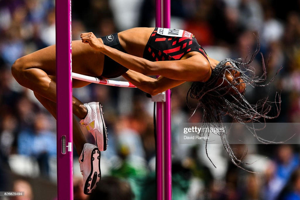 Nafissatou Thiam of Belgium competes in the Women's Heptathlon High Jump during day one of the 16th IAAF World Athletics Championships London 2017 at The London Stadium on August 5, 2017 in London, United Kingdom.