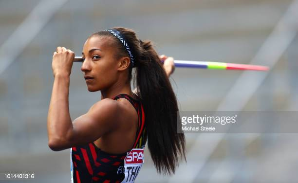 Nafissatou Thiam of Belgium competes in the Women's Heptathlon Javelin Throw during day four of the 24th European Athletics Championships at...