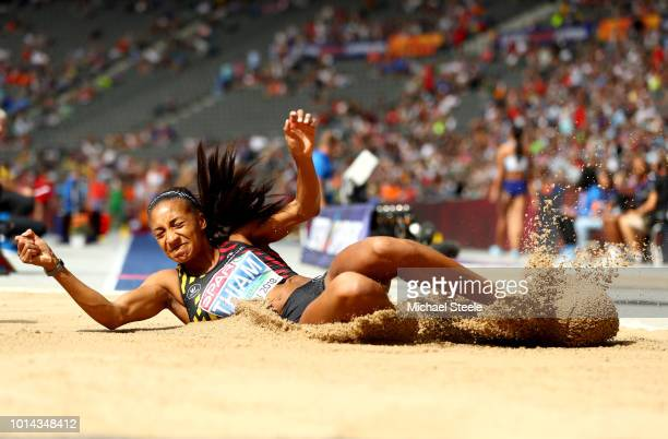 Nafissatou Thiam of Belgium competes in the Women's Heptathlon Long Jump during day four of the 24th European Athletics Championships at...