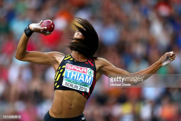 Nafissatou Thiam of Belgium competes in the Women's Heptathlon Shot Put during day three of the 24th European Athletics Championships at...