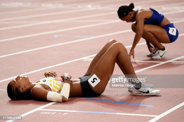Nafissatou Thiam of Belgium reacts after the 800 Metres and winning silver in the Women's Heptathlon during day seven of 17th IAAF World Athletics...